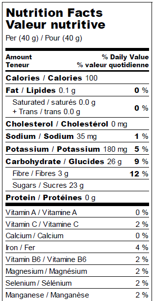 Dehydrated apples - Nutrition Facts