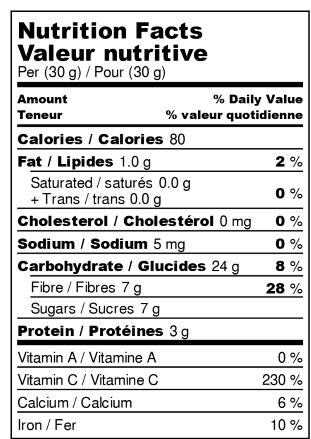 Dehydrated lemons - Nutrition Facts