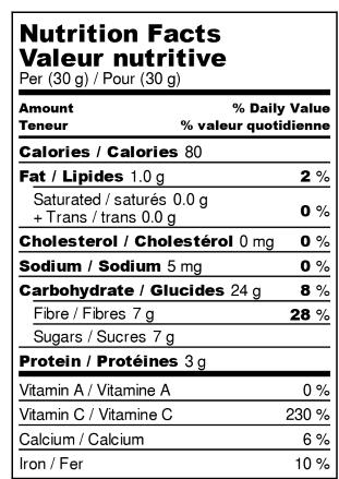 Citrons déshydratés - Valeur Nutritive