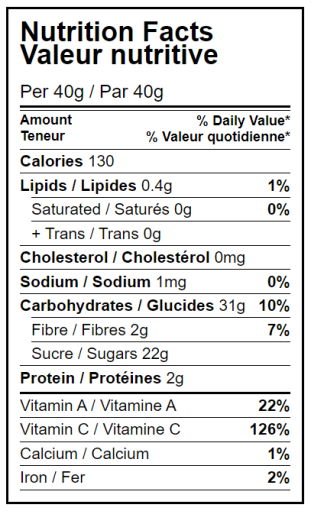 Dehydrated mangoes - Nutrition Facts