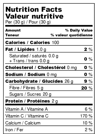 Dehydrated oranges - Nutrition Facts