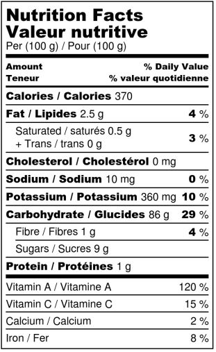 Dehydrated pumpkins - Nutrition Facts