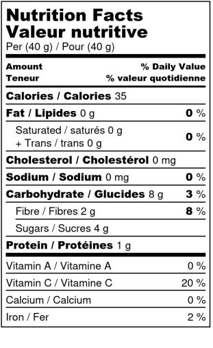 Framboises déshydratées - Valeur Nutritive