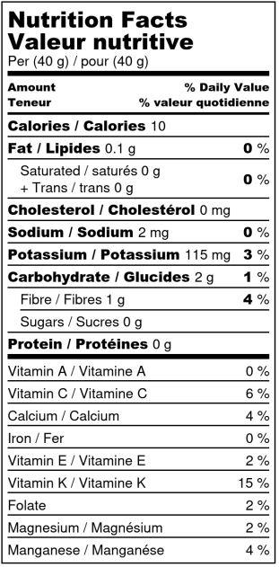 Rhubarbe déshydratée - Valeur Nutritive