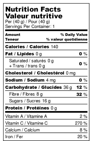 Fraises déshydratées - Valeur Nutritive
