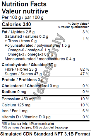 Dehydrated wild blueberries - Nutrition Facts