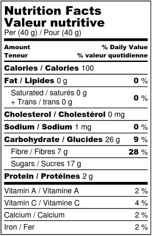 Organic dehydrated jackfruit - Nutrition Facts