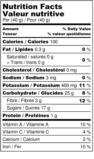 Organic dehydrated peaches - Nutrition Facts